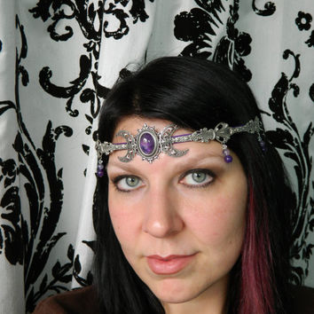 TRIPLE MOON GODDESS -- Made to Order -- Circlet, Diadem, Headdress, Renaissance Crown by Crow Haven Road
