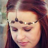purple head chain with faux pearls bridal/formal