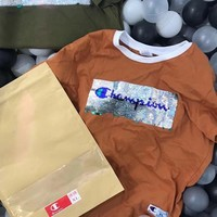 Champion Sequin Shining Bust Logo Tee Shirt Full Color Lapel Top B-LFL-WX6H Four Color-Coffee