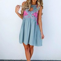 PREORDER: Crash Into Me Dress: Dusty Teal/Multi