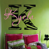 "Zebra name decal - Modern Chic Vinyl Wall Decal -Animal Print Shabby Chic-Teen Girl Wall-Nursery 22""H x 23 ""W"