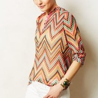 Yuma Peasant Blouse by KAS New York Red Motif