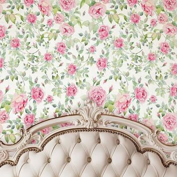 IVORY TUFTED HEADBOARD WITH FLORAL PATTERN WALL BACKDROP - 6207 LCBD6207 - LAST CALL