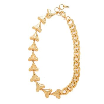 Tooth or Dare Necklace in Gold - half Chain/half shark's teeth
