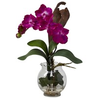 SheilaShrubs.com: Beauty Mini Vanda w/Fluted Vase Silk Flower Arrangement 1276-BU by Nearly Natural : Artificial Flowers & Plants