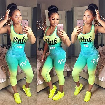 Victoria's Secret PINK Women Tracksuit Summer 2 Two Pieces Outfits Pink Letter Printing Clothes Sexy Sportswear T Shirt Cotton Sleeveless Slim Set