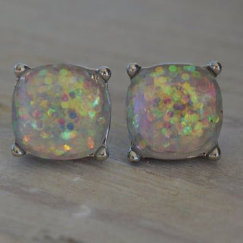 Snow Globe Iridescent White Glitter Earrings Post Stud Pink Blue Gold Silver Purple Resin Druzy Jelly Candy Bubble Sparkly Colorful