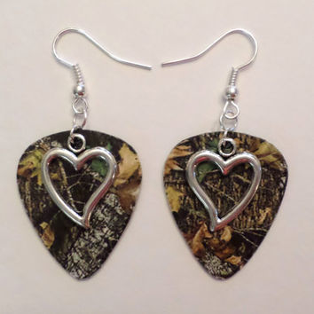 Mossy Oak Camo Camouflage guitar pick earrings with heart charm country love camo jewelry