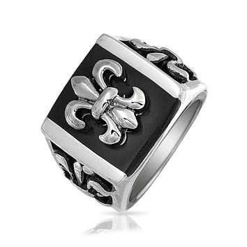Mens Black Fleur De Lis Square Signet Ring Silver Tone Stainless Steel