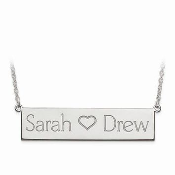 Sterling Silver Laser Polished 2 Name And Heart Bar Plate W/ Chain