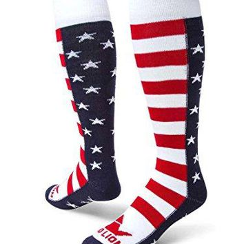 Red Lion Brave Patriotic Knee High American Made Socks Navy BlueWhiteRed  Small