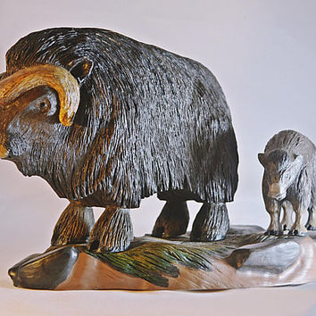 Signed Carved Wood Bison, Bison With Calf, Wood Buffalo