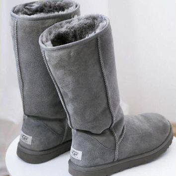 DCCK UGG' Women Men Classic Wool Leather Gray Black Tall Boots Valentine's Day Christmas Gift
