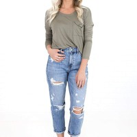 Women's Long Sleeve Knit Top with Side Pocket
