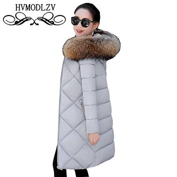 Winter Women Hooded Long Down cotton Jacket Coat 2017 Plus size Feather cotton Female parkas Collar coat Casaco Feminino ls318