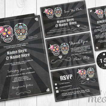 Sugar Skull Wedding Invitations Chalk Set Template Package Printable Invites Halloween Save The Date INSTANT DOWNLOAD Personalize Editable