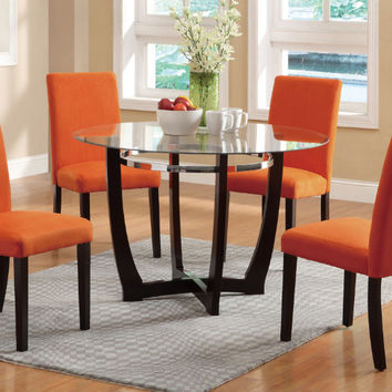 "Poundex F2348-1303 5 pc Allister ii espresso finish wood orange microfiber 45"" round glass top dining table set"
