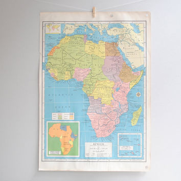 Vintage Double Sided Map of Africa, Australia and New Zealand