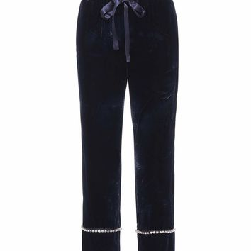Velvet cropped trousers