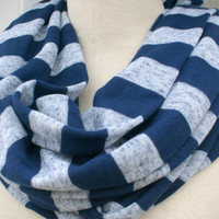 Summer Scarf Jersey Infinity Navy Blue with Acid Washed by PIYOYO