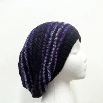 Oversized beanie shades of purple and black 5156