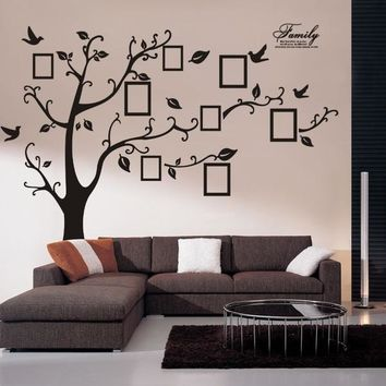 Wall Decal Sticker Removable Photo Frame Tree Bird With Family Quote (Color: Black) [7862729223]