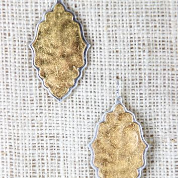 Leaf Outline Plate Dangle Earrings