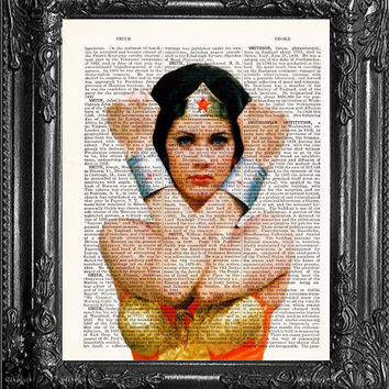 Wonder Woman Poster-Dictionary Print Book Print Page Art- Antique Book Page-Gift Print On Dictionary Book Page, Home Dorm Wall Decor