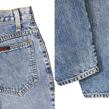 90s Sasson High Waist Denim, Vintage 80s High Waisted Mom Jeans Tapered Leg, Grunge Acid Wash Blue Jean Size 8