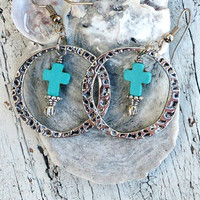 Turquoise Cross Hoop Earrings Silver Hammered EARRINGS Western Jewelry