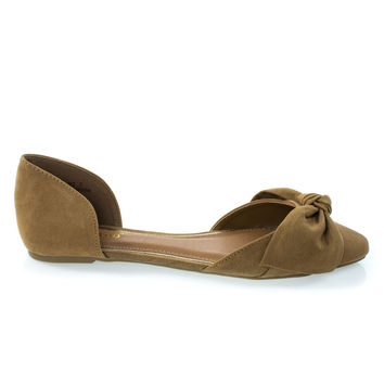 Sequel88S Tan By Bamboo, Women's Slip On Pointed Toe D'Orsay Double Open Shank Flat w Bow