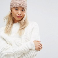 Stitch & Pieces Knitted Cable Headband in Pink at asos.com