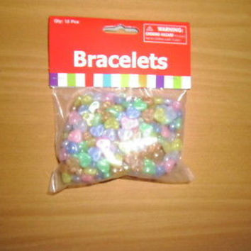 12 MULTI COLORED HEART SHAPE BRACELETS FOR GIRL PARTY FILLERS