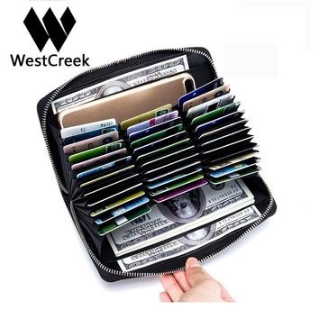 Westcreek Brand Men/Women Leather RFID Long Zipper Wallets Large Capacity Organizer Credit Card Holder Travel Passport Purse