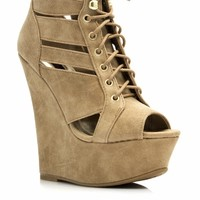 Strappy Peep-Toe Bootie Wedges