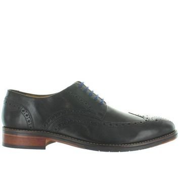 CREYONIG Florsheim Salerno Wing Ox - Black Leather Perforated Wing Tip Oxford