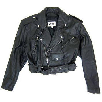 Vintage 80s Motorcycle Jacket Black Leather Coat Moto Biker Jacket Grunge Punk Vintage CHIA Punk Zip Up Coat Cropped Jacket Womens Large