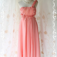 Shes The Prom Queen ll - Gorgeous Peachy Apricot Gown Dress Prom Party Wedding Cocktail Dress Delicate Feminine Dress Floral Hand Sewn