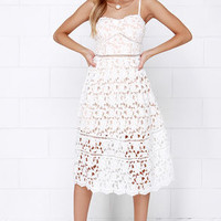 Pinnacle of Prestige Ivory Lace Midi Dress