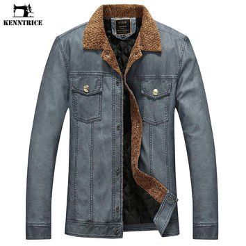 Turndown Collar Fashion Leather Jackets Men Coats Fleece Windproof  Faux Leather Jackets Outwear Coats Men
