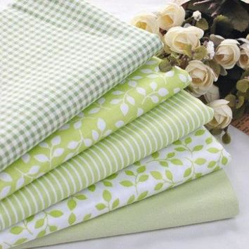 5 PCS 40cmX50cm Green Floral Cotton Fabric For Sewing Patchwork quilting Doll Bedding Fabric home textile