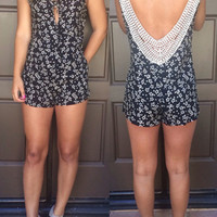 Floral Key Hole Front V-Back Lace Romper