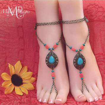 Turquoise Coral Boho Chain Barefoot Sandals