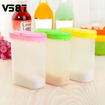 Plastic Food Seasoning Container Kitchen Spice Boxes Jar Double Lid Cereal Condiment Bean Storage Bottle Container 250ml