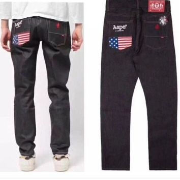ONETOW Aape Fashion Denim Pants Trousers Jeans