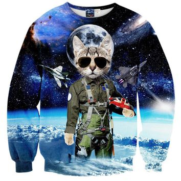 Space Kitty Cat Fighter Jets Nebula Cosmic Universe All Over Print Sweater