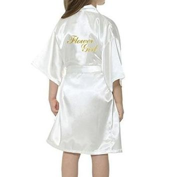 New solid girls stain silk robes flower girl kimono robes wedding brief bathrobes pajamas kids robe+belt nightdress hot sale