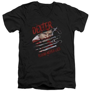 Dexter - Blood Never Lies Short Sleeve Adult V Neck