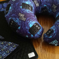 NURSING Pillow BOPPY or Nuture Nest U-Shaped Pillow COVER Tardis Fabric Doctor Who Plush Fleece Custom BoutiQue Designs by Sugarbear