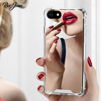 Roc Joan Mirror Case for iPhone 6 6S 7 / 8 / 7 plus / 6 plus Anti Shock Hard Acrylic + TPU Cover Back Rose Gold Coque
